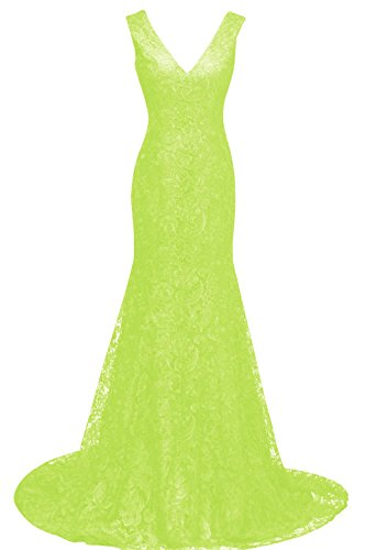 Bess Bridal Women's Lace Mermaid V Neck Long Formal Prom Gown Evening Dresses US12 Lime Green