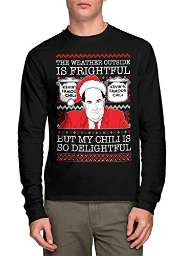 HAASE UNLIMITED Long Sleeve Unisex Kevin My Chili is Delightful Ugly Christmas Shirt (Black, ()