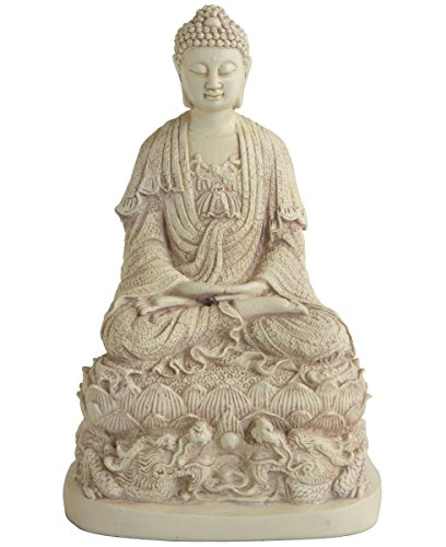 - Buddha Groove Meditating Buddha Statue on a Dragon Throne Comes with Stone Finish | 9.75 Inches