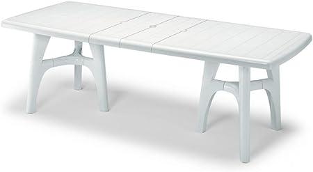 Mesa para exterior blanco, Mesa para jardín extensible de plástico ...