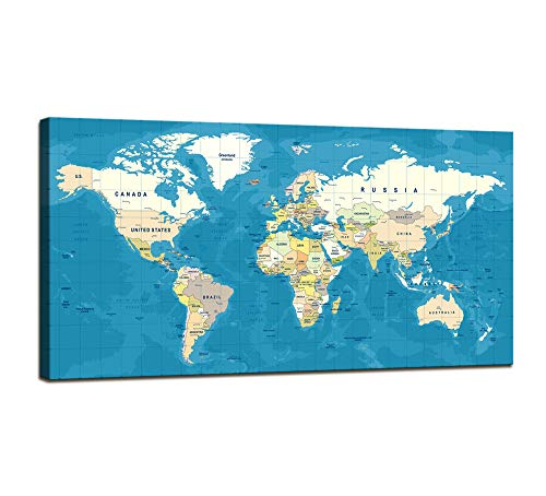 - youkuart World Map Canvas Print for Home Decoration and Living Room Decor, Extra Large Navy Blue Map of The World Push Pin Wall Art for Office Interior and Decor - Ready to Hang