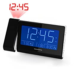 Magnasonic Alarm Clock Radio with Time Projection, Auto Dimming, Battery Backup, Dual Gradual Wake Alarm, Auto Time Set, Large 4.8 LED Display, AM/FM (CR62W)