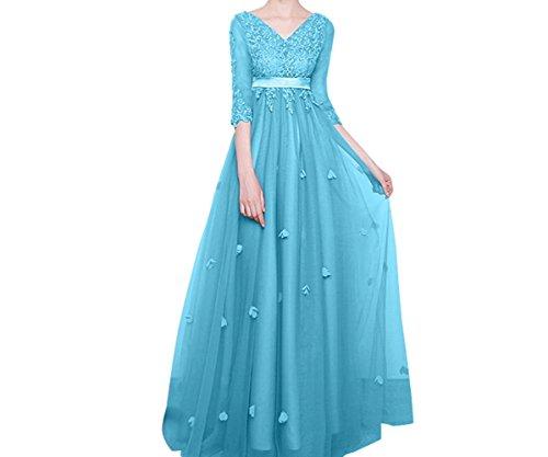 Ausschnitt Ballkleider Langes Linie Spitze A Festlichkleider Abendkleider mia Partykleider Attraktive La V Rock Blau Braut Tuell FxwT0aII