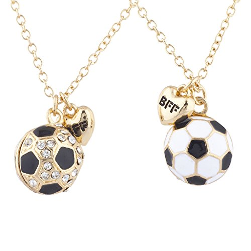 Lux Accessories Goldtone Soccer Locket Best Friends Forever Charm Necklace 2PC
