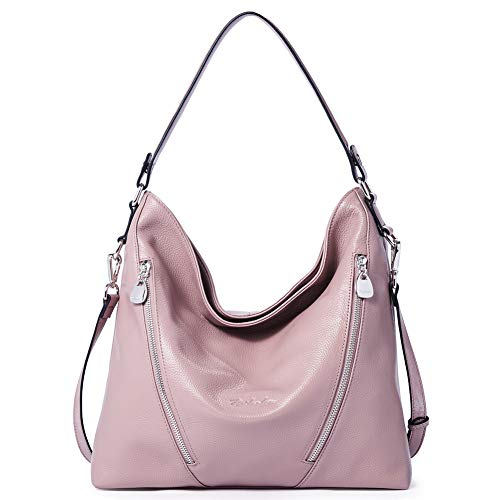BOSTANTEN Women Leather Handbag Designer Large Hobo Purses Shoulder Bags Pink