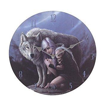 """Moon Tribe Princess Protector Gray Wolf 13.5"""" Wall Clock ..."""