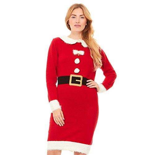 Just One Women's Santa Costume Ugly Sweater Dress Christmas Plus Size (Mrs. Claus, 3X)
