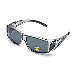 Wrap Around Style Polarized Sunglasses to Wear Over Regular Prescription Glasses with UV 400 Protection for Men & Women Activities (Bright Grey Frame Grey Lens fit over glasses)