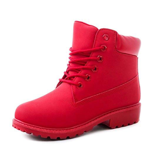 Trendige Unisex Damen Herren Schnür Stiefeletten Stiefel Worker Boots - auch in Übergrößen Rot Chicago