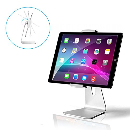 AboveTEK Elegant Tablet Stand, Aluminum iPad Stand Holder, Desktop Kiosk POS Stand for 6-13 inch iPad Pro Air Mini Galaxy Tab Nexus, Tablet Mount for Store Showcase Office Reception Kitchen Countertop