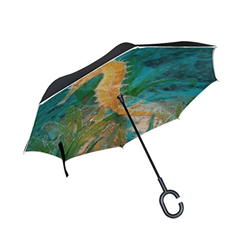 (Rh Studio Inverted Umbrella Rain Sun Car Reversible Umbrella Seahorse Underwater Swim Large Double Layer Outdoor Upside Down Umbrella with Women with Uv Protection C-Shaped Handle)