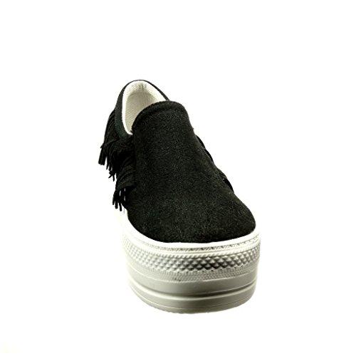 Angkorly - Chaussure Mode Baskets plateforme slip-on femme frange Talon compensé plateforme 5 CM - Noir