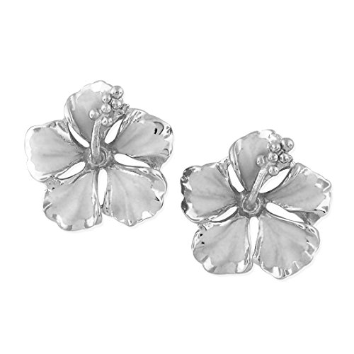 Sterling Silver 1/2 Inch Hibiscus Stud Earrings