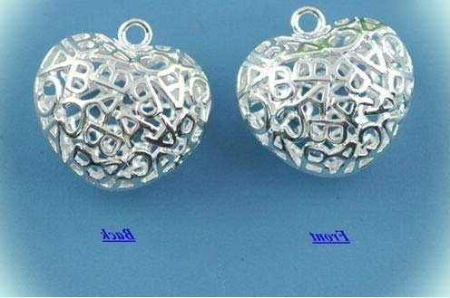 Silver Plate ABC Alphabet Open-cut Puffy Heart 19mm for sale  Delivered anywhere in USA