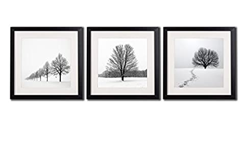 Winter Landscape Wall Art Decor Photos Printed On Canvas Peaceful Snow Tree Scene Picture Paintings 3 Piece Black Framed With White Matte Artwork Giclee Prints Posters For Living Room - Snow White Pictures