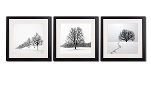 Winter Landscape Wall Art Decor Photos Printed On Canvas Peaceful Snow Tree Scene Picture Paintings 3 Piece Black Framed With White Matte Artwork Giclee Prints Posters For Living Room Derations - Black Poster Print