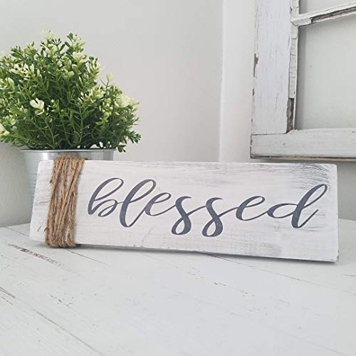 Blessed Farmhouse Twine Decor Wood Distressed Sign