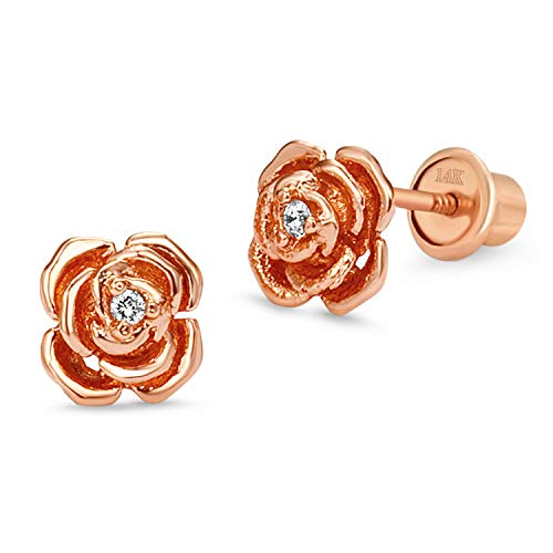 Rose Gold Tone Rose Children Screw Back Baby Girls Earrings