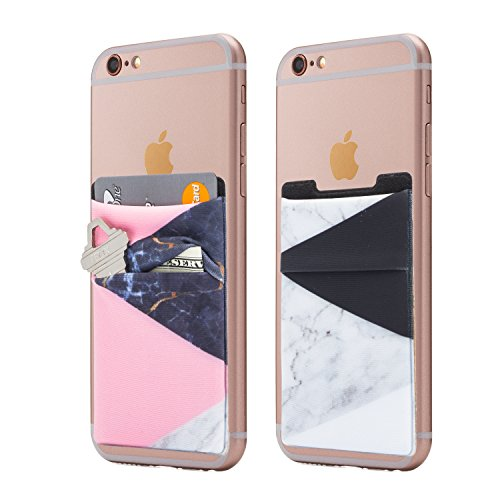(Two) Stretchy Marble Cell Phone Stick On Wallet Card Holder Phone Pocket for iPhone, Android and All Smartphones. (Pink Split)