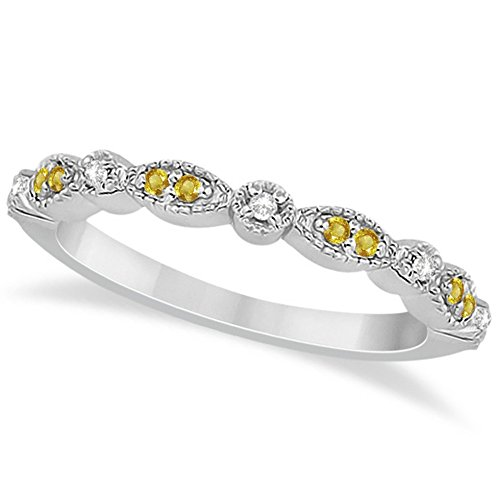 Marquise and Dot Pave-Setting Yellow Sapphire and Diamond Accented Wedding Band Palladium (Palladium Yellow Ring)