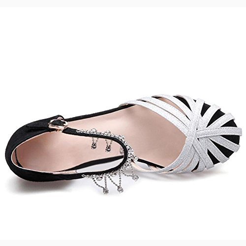Size Shoes The Leather YC L Word Buckle Code Wedge Women Diamond Hollow Down Sandals Silver Head qAHf4wUf