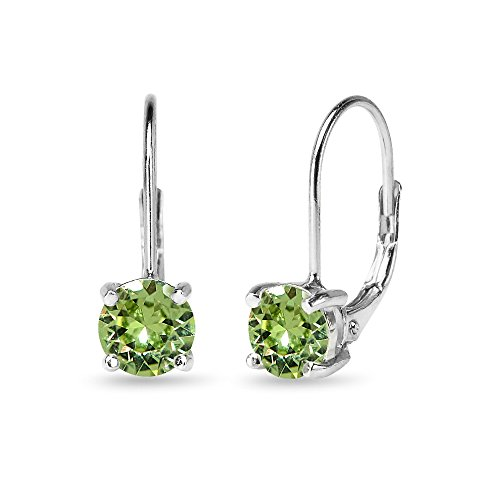 (Sterling Silver Light Green Round-cut Leverback Earrings Made with Swarovski)
