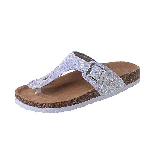 Flipflops Slide Women's Sandals White Sequin Beach Sandals Sequin fereshte BwXWxnaEE