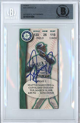 Ken Griffey Jr. Signed Auto Ticket Seattle Mariners 3 31 1998 HR #295 Beckett Certified