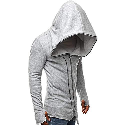 Large Automne Manches Capuche Hommes Sweat Zhrui Gris Tops Longues Manteau Sports Gyms Outwear Hommes Zipper Veste Top Hiver Chaud Ensemble À Pullover Casual SnqvqXWT