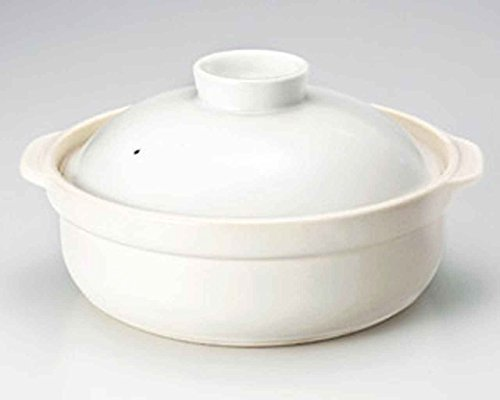 Utage for 4-5 persons 11.3inch Donabe Japanese Hot pot White Ceramic Made in Japan by Watou.asia