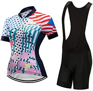 女性用サイクリングジャージ&ショートパンツ半袖通気性自転車スーツ