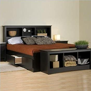 prepac black sonoma king bookcase platform storage bed