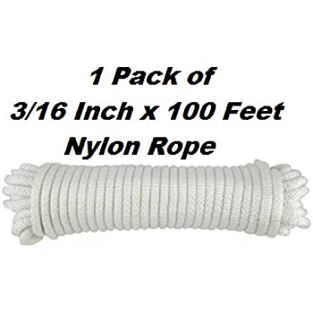 Nylon Twisted Braided Rope- 3/16 Inch x 100 Foot Anchor Rope- For Moving, Camping, Towing, Outdoor Adventure, Mountain Climbing, Gardening, Boat Docks- By Katzco