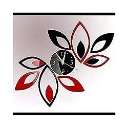Alrens_DIY(TM) Creative Red and Black Rhombus Leaves Leaf Diamonds Mirror Wall Clock Fashion Modern Design Removable DIY Acrylic 3D Mirror Surface Wall Sticker Living Room Decoration Home Decor