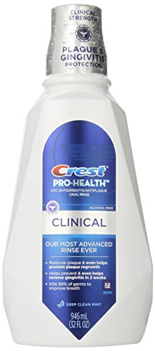 Crest Pro-Health Clinical Oral Rinse Deep Clean Mint, 32 Fluid Ounce Pack of 6