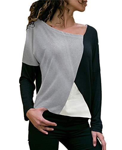 T Printemps Shirts JackenLOVE Pulls Jumper Tops Manches Patchwork Fashion Longues Hauts Chemisiers Blouse Automne Noir Femmes Casual et Tee aBT4x
