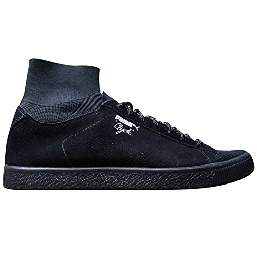Puma Clyde X Bkrw Mænd Rund Tå Ruskind Hvide Sneakers Sort / Hvid mMSDZ06