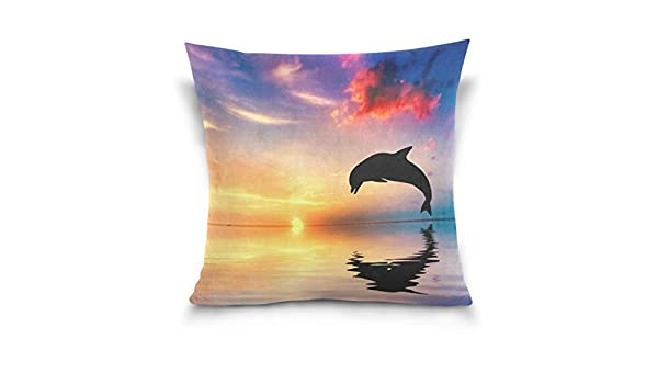Amazon.com: ALIREA Dolphin Sunset Backgrounds Throw Pillow Cover Cases Linen Home Decorative Zipper Throw Pillow Case for Sofa Couch, 16 x 16 Inch: Home & ...