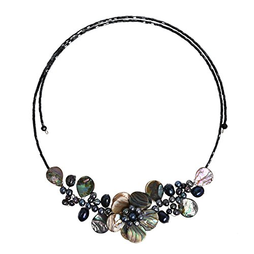 AeraVida Lotus Wreath Abalone Shell Cultured Freshwater Pearl Memory Wire Wrap Necklace