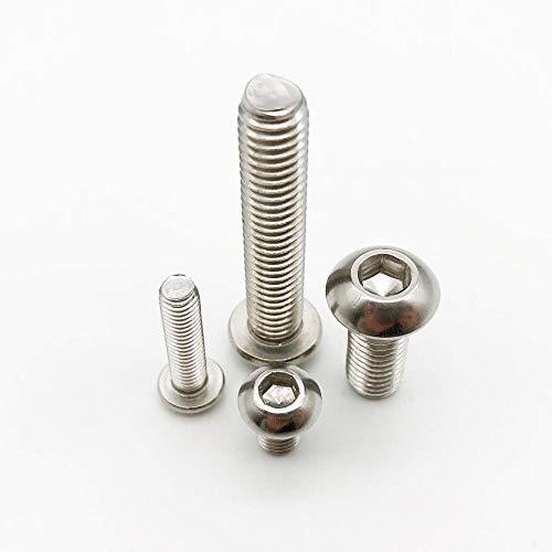 JWJY 10 / 50pcsのM2 M2.5 M3 M4 M5 M6 304 A2-70ステンレススチールブラックグレード10.9 ISO7380六角六角穴付ボタンアレンボルトねじ (Color : Stainless steel, Length : 16mm, Size : M2.5 (50pcs))