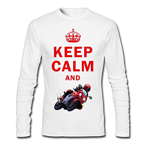 Men's Keep Calm And Play Motorcycle Racing Long Sleeve T Shirt White