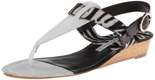 (Diane von Furstenberg Women's Darling Dress Sandal,White Vacchetta/Zebra Haircalf/ Black Vacchetta,8 M US)