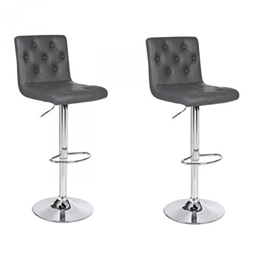 CHESTER Lot de 2 tabourets de bar gris AUCUNE BD2550CHESGRIS