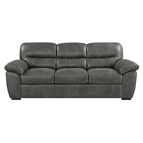 Sofa With Faux Leather, Pillow Top Back, And Padded Arms (Best Leather Sectional Brands)