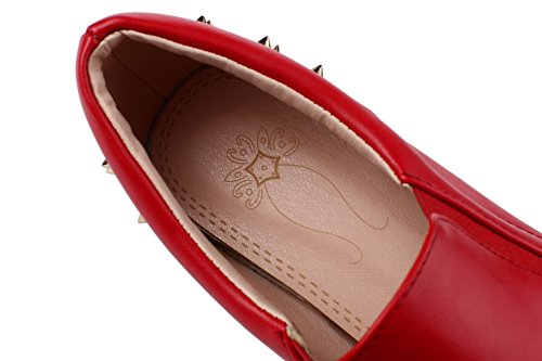 Leather Ladies Imitated On Shoes Heels Red BalaMasa Slip High Studded Pumps Hnq6qd0B