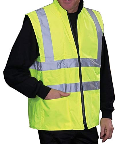 RIDDLED WITH STYLE Mens High Visibility Reversible Body Warmer Boys Jacket#(Yellow Reversible Body Warmer#Medium#Mens)