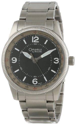 Caravelle by Bulova Men's 43A110  Stainless Steel Black Dial Bracelet (Caravelle Mens Bracelet)