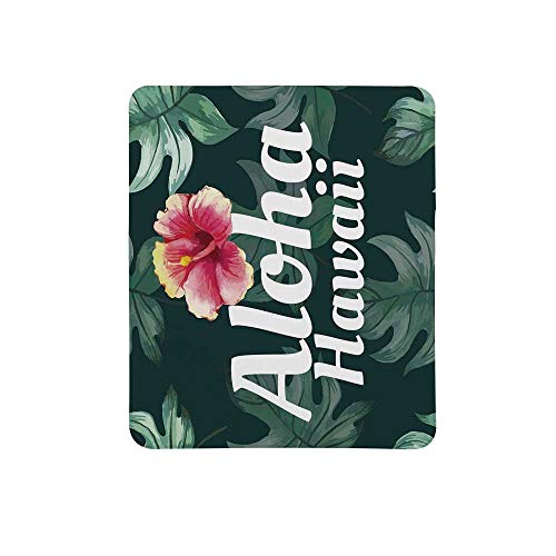Hawaiian Decorations Non Slip Mouse Pad,Monstera Leaves Branch Traditional Flourish Greenery Watercolor Painting Effect for Home & Office,11