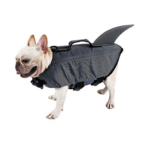 Shark Fin For Dog Costume (Dog Life Jacket Reflective Safety Vest Santune Pet lifesaver Adjustable Dog Swimming Preserver Shark Style for Small Medium Large Breeds(XL))