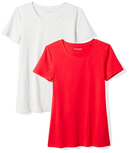 Quality Women Red T-shirt - Amazon Essentials Women's 2-Pack Short-Sleeve Crewneck Solid T-Shirt, Red/Light Grey Heather, X-Large